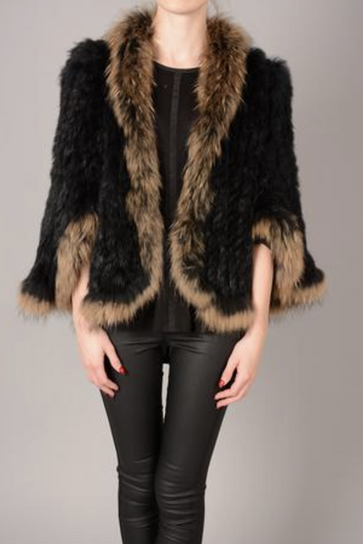FOX & CONEY FUR JACKET BLACK MOCHA - Feathers Of Italy