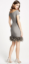 Load image into Gallery viewer, LBD Margot Feather Trim Bodycon Bardot Dress in Grey - Feathers Of Italy