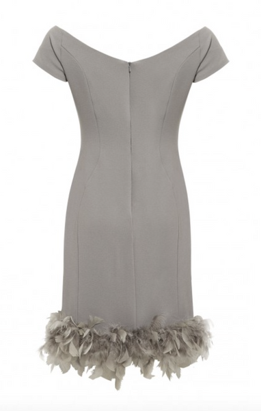 LBD Margot Feather Trim Bodycon Bardot Dress in Grey - Feathers Of Italy