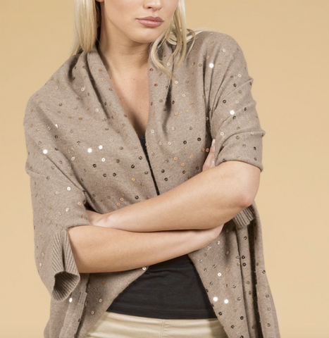 Luxury Cashmere Sequined Wrap in Mocha