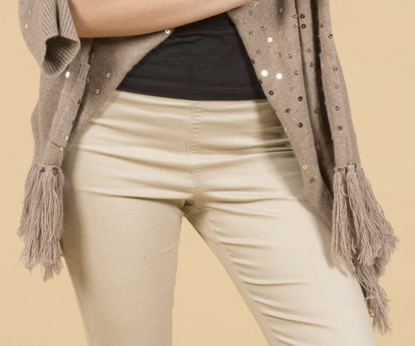 Luxury Cashmere Sequined Wrap in Mocha - Feathers Of Italy