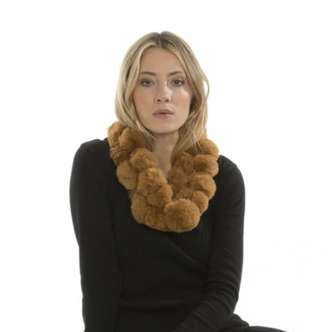 Coney Fur Pom Pom Scarf in Mocha - Feathers Of Italy