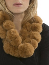 Load image into Gallery viewer, Coney Fur Pom Pom Scarf in Mocha - Feathers Of Italy