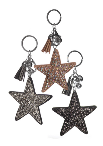 Encrusted Star Crystal Keyrings - Feathers Of Italy