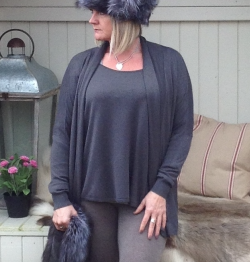 Cardigan with Under Top in Slate - Feathers Of Italy