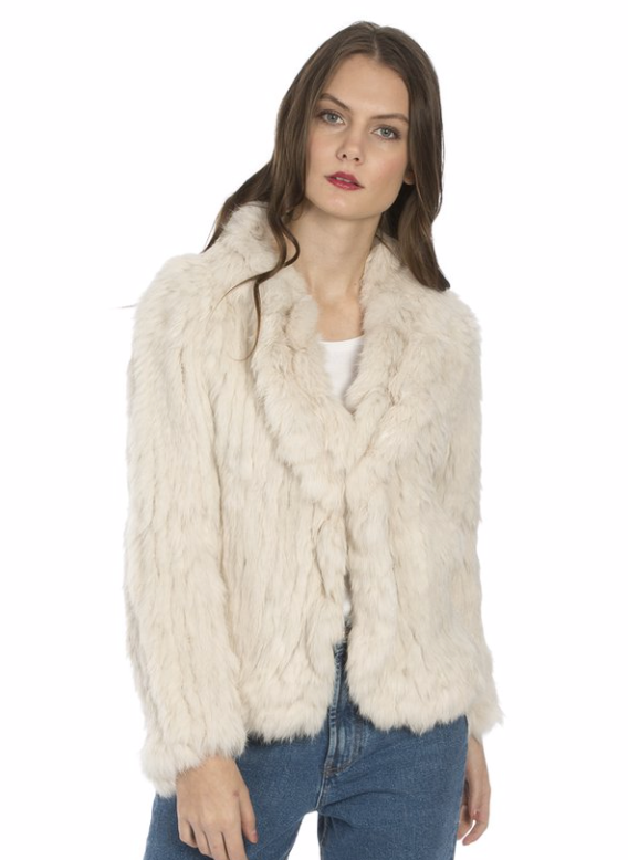 Scalloped Fur Jacket With Signature Collar in Cream - Feathers Of Italy