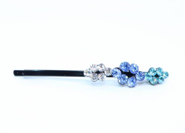 Blue Flower Diamond Hair Clip - Feathers Of Italy - Feathers Of Italy