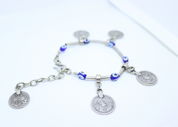 Turkish Eye and Coin Bracelet - Turkish Designer