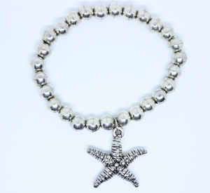 Starfish Silver coloured Stretchy Bracelet - By Feathers Of Italy - Feathers Of Italy