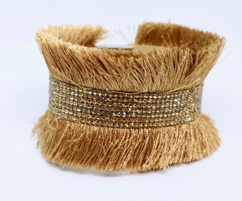Bari Fringe Diamante Encrusted Cuff Bracelet in Caramel - Feathers Of Italy - Feathers Of Italy