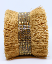 Load image into Gallery viewer, Bari Fringe Diamante Encrusted Cuff Bracelet in Caramel - Feathers Of Italy - Feathers Of Italy