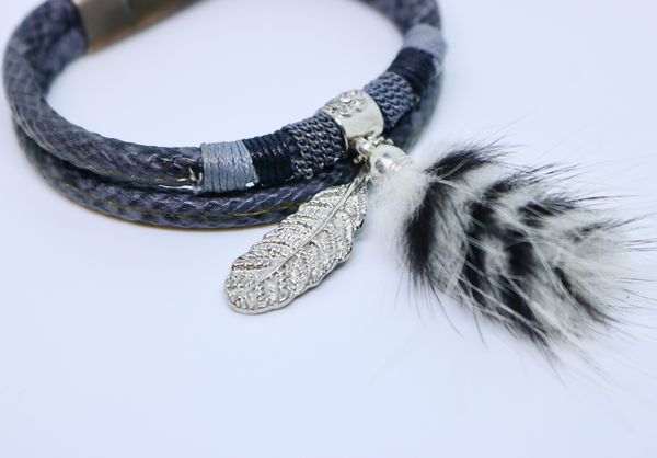 Grey Snake Print Silver Feather and Fur Pom Pom Tassel Double Wrap Bracelet - by Feathers Of Italy - Feathers Of Italy