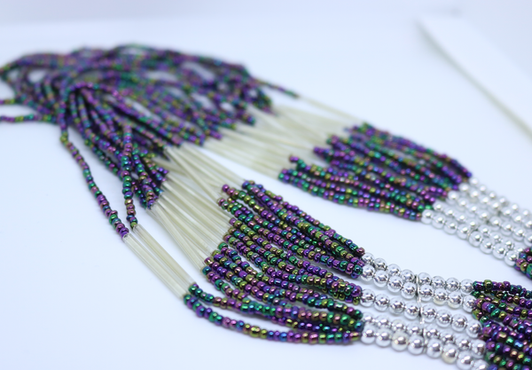 Silver and Multi Coloured Purple and Blue Mix Bead Necklace - by Feathers Of Italy