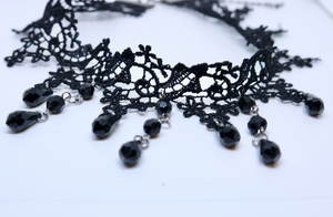 Black Drop Choker - Feathers Of Italy