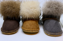Load image into Gallery viewer, Limited Edition Miniature Sheepskin and Real Fur Hand Stitched Ugg Boot Style Key Ring in 3 colours - Feathers Of Italy