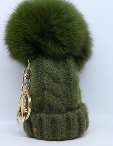 Limited Edition Bobble Hat Pom Pom Key Ring in Green or White - By Feathers Of Italy - Feathers Of Italy