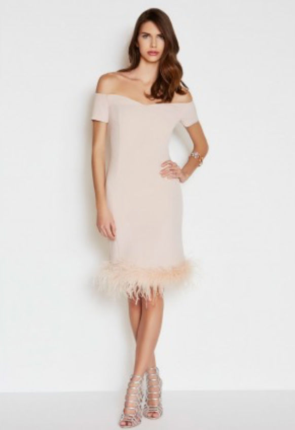 The LBD Margot Ostrich Feather Dress in Nude - LBD