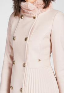 Rinascimento Cappotto Pleated 3/4 Length Coat In Pink - Feathers Of Italy
