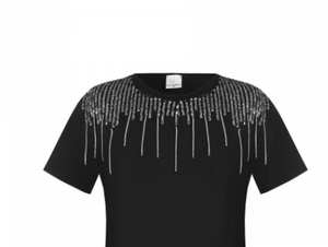 Rinascimento Top - Sequinned Drop T Shirt  Black - Feathers Of Italy