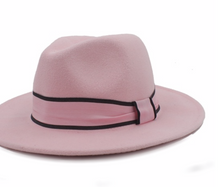 Load image into Gallery viewer, Womens Wool Fedora Hat Chapeu Feminino Cloche Wide Brim Jazz Church Homburg Sombrero Caps Pink Ribbon - Feathers Of Italy