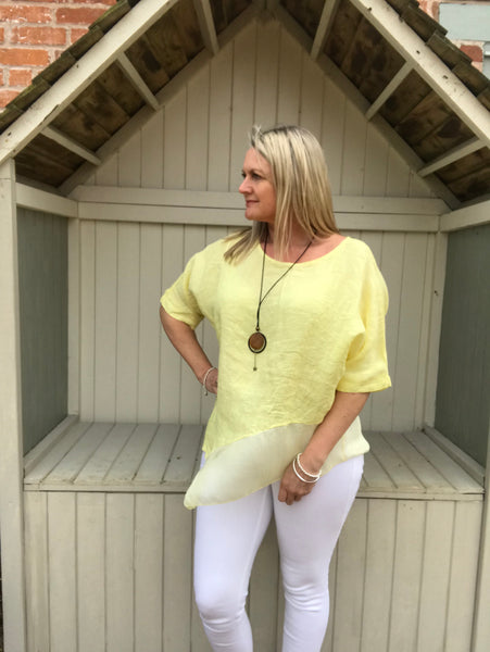 Silk layer Linen Top in Canary Yellow Made in Italy by Feathers Of Italy One Size - Feathers Of Italy