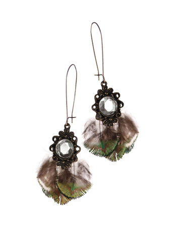 Birds of A Feather Earrings - Peacock & Crystal - Bronze - Feathers Of Italy