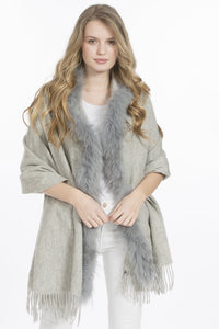 Lambswool Cape with Fur Trim Hood in Grey by Feathers Of Italy