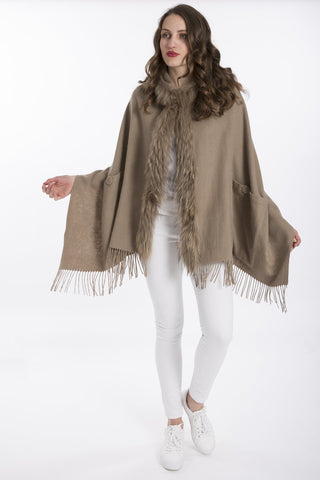 Lambswool Cape with Fur Trim Hood in Mocha - Feathers Of Italy