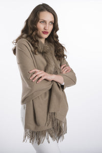 Lambswool Cape with Fur Trim Hood in Mocha - Feathers Of Italy - Feathers Of Italy