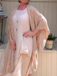 Adriana Cable Knit Wrap in Petal Made In italy By Feathers Of Italy One Size - Feathers Of Italy