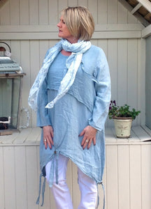 Angelina linen Tunic Dress in Sky Blue Made In Italy By Feathers Of Italy One Size - Feathers Of Italy