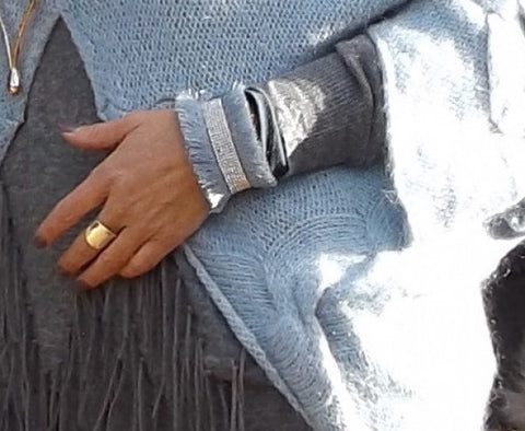 Bari Fringe Diamante Cuff Bracelet in Silver - Feathers Of Italy