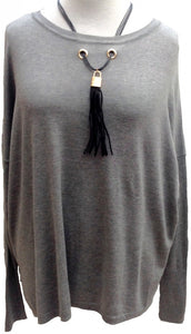 Black Tassel Jumper in Grey - Feathers Of Italy