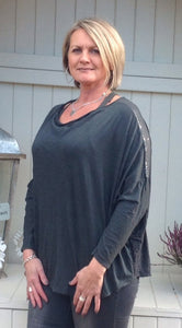 Boa Silk Top in Slate - Feathers Of Italy