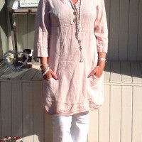 Bonavento Linen Shirt Dress - Feathers Of Italy