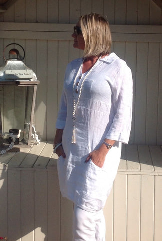 Bonavento Linen Shirt Dress in White Or Pink Made In Italy By Feathers Of Italy - Feathers Of Italy