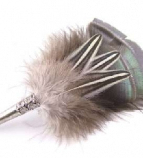Traditional Style Country Brooch/Hat Pin Bronze - Feathers Of Italy