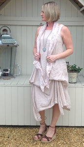 Cameo Parachute Linen Dress In Apricot Made In Italy By Feathers Of Italy Small - Feathers Of Italy