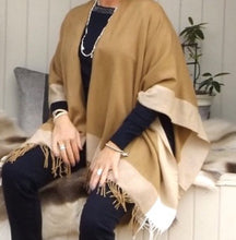 Load image into Gallery viewer, Bordered Reversible Wrap Cape in Caramel - Feathers Of Italy