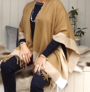 Bordered Reversible Wrap Cape in Caramel - Feathers Of Italy