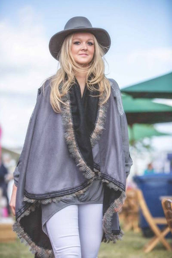 Cashmere Reversible Wrap with Feather Trim in Grey & Black - Feathers Of Italy