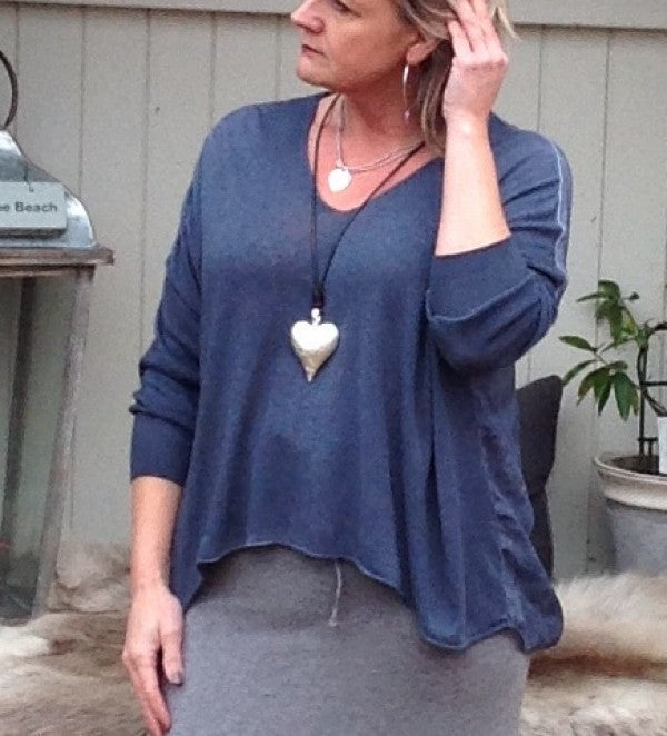 Chiffon Back Fine Knit Jumper in Blue Made In Italy By Feathers Of Italy One Size - Feathers Of Italy