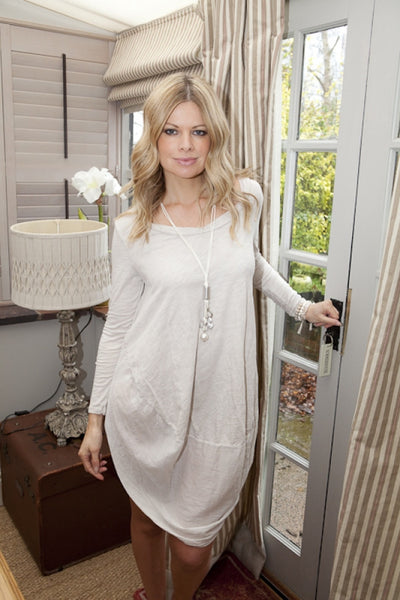 Cocoon Dress in Vanilla - Feathers Of Italy