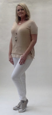 Diamante & Voile Fanback Jumper in Apricot - Feathers Of Italy