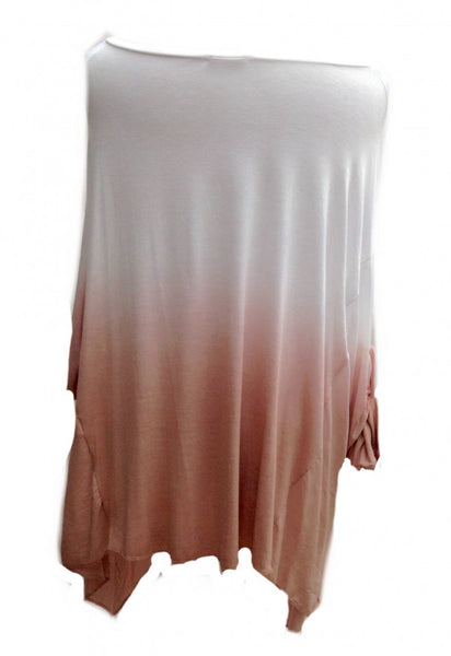 Dip Dyed Oversized Top in Pink - Feathers Of Italy