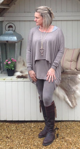 Double Pocket Layer Jumper in Mocha - Feathers Of Italy
