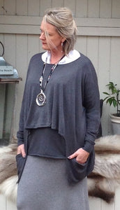 Double Pocket Layer Jumper in Slate - Feathers Of Italy