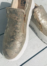 Load image into Gallery viewer, Canterville Pump Gold Snakeskin by Daniel Footwear Size 6 - Feathers Of Italy