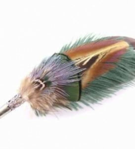 Feather Hat Pin Traditional in Jade - Feathers Of Italy