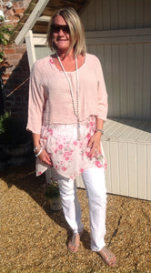 Fiarella Floral Tunic Top Two Piece in Pink Made In Italy By Feathers Of Italy One Size - Feathers Of Italy